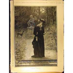 1891 Winter Rose Knowles Lady Dog Garden Statue Print