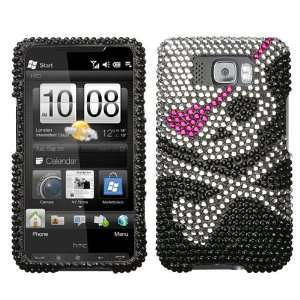 Sparkling Skull with Pink Eye Patch Full Diamond Rhinestone Snap on