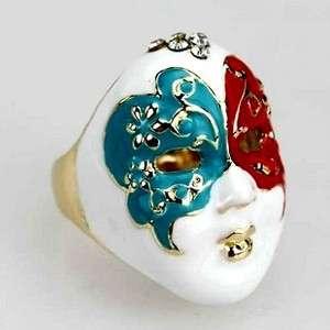 Vintage Art Deco enamel facial mask ring 6 designs available