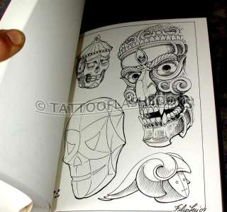 Filip Leu SKULLS Tattoo Flash Machine Gun Kit Ink Book