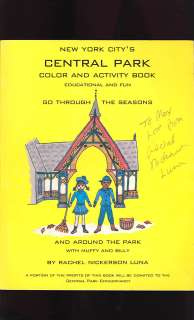 1996 New York Citys CENTRAL PARK COLORING BOOK  SIGNED