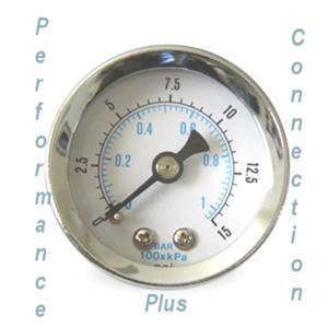 White Liquid Filled 15 PSI Fuel Pressure Gauge 1.5 dia_1/8 NPT