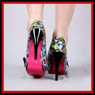 Iron Fist Bloody Mess Platform Heels Zombie Multi Color