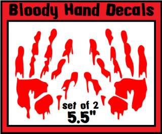 Zombie Vampire Scary Bloody Hand Sticker Decals 5.5