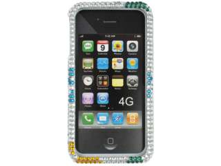 SILVER DOG PAWS DIAMOND BLING CRYSTAL FACEPLATE CASE COVER APPLE