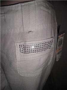 INC MISSES/PETITE WHITE LINEN PANTS RHINESTONE SZ 2, 0P