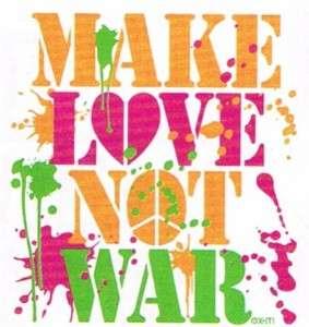 MAKE LOVE NOT WAR Woodstock Indie Neon Hippie Peace Tee