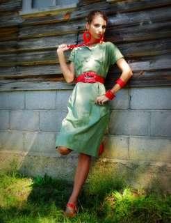 Vintage 50s Military Green Pencil Skirt Dress XS