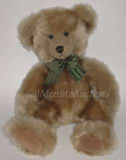 RUSS Berrie BARRINGTON Plush Golden Brown TEDDY BEAR Bow Stuffed