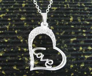 Dazzing Heart Shape Crystal Pendant Necklace N1069W