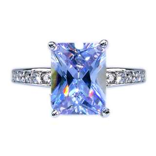 special gift jewelry PRINCESS CUT TANZANITE WHITE GOLD GP RING JEWELRY