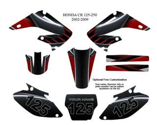 Honda CR 125 250 2002 09 MX Graphics Decals Kit #8001R