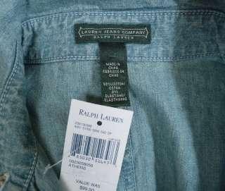 NEW Ralph Lauren Womens Chambray Denim Ruffle Dress MED w/ Rope Belt