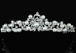 Bridal Wedding Flower White Faux Pearl Tiara T1372