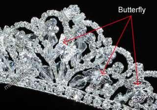 Bridal Wedding Butterfly Sparkling Tiara use Swarovski Crystal T1461