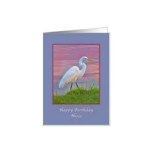 Birthday, Niece, Great Egret at Sunrise Card: Health