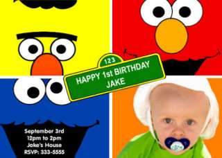 SESAME STREET ELMO BIRTHDAY PARTY INVITATIONS