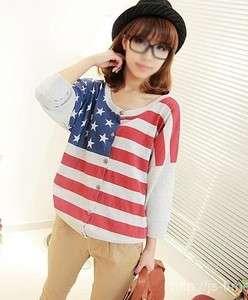 Japan new style gray cute USA Flag print girl Jacket