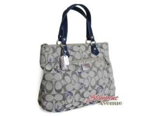 Coach Poppy Grey Blue Signature Logo Glam Tote Handbag 18711 |
