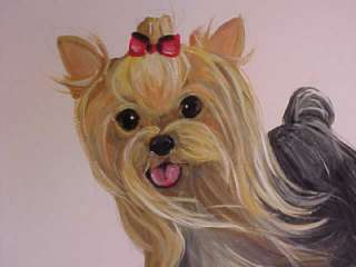 YORKIE ORIGINAL PAINTING ON 11X14 CANVAS BOARD GESSO WHITE