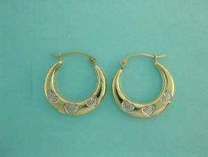 10K Real Yellow White Gold Hoop Earrings Tubular Heart 14mm X 2.3mm
