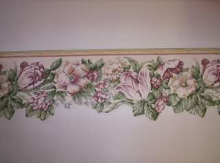 Laser Cut Dark Pink Flowered Wallpaper Border by Sunworthy
