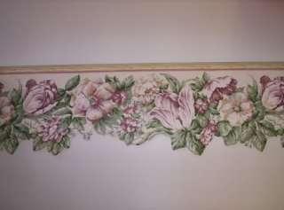 Laser Cut Dark Pink Flowered Wallpaper Border by Sunwory
