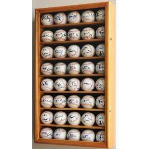 40 Baseball Display Case Cabinet Holder Wall Rack w/ UV Protection