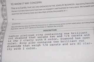 LADIES PLATINUM 2.25 CARAT DIAMOND RING!