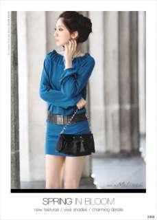 New Korea Graceful Blue Fold Collar Long Sleeve Dress