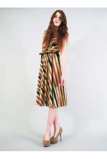 Vtg 70s DESERT ROUGH STRIPE EARTH TONE full skirt midi day sun dress