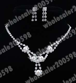 necklace length 20 19cm earring length 22mm rhinestone imitate pearl