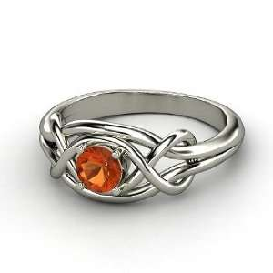 Infinity Knot Ring, Round Fire Opal Sterling Silver Ring