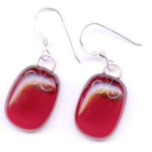 Earrings   Cranberry Pink Glass w/ Copper Wire Work, Sterling Silver