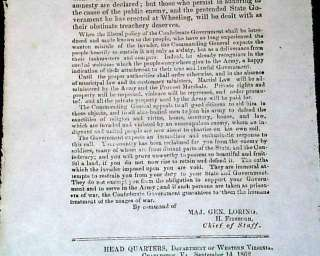 Rare Charleston WV CONFEDERATE BROADSIDE Civil War Old 1862 Newspaper