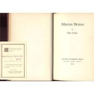 Marcus Brutus, Max Radin Books