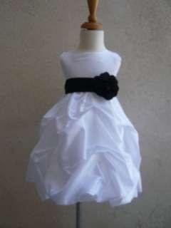 NEW WHITE BLACK BABY INFANT EASTER PARTY FLOWER GIRL DRESS 6 12 18 24