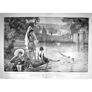 1900 WEIR POOL PANGBOURNE RIVER THAMES BATHING HOUSE: Home