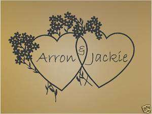 Hearts Personalized   Vinyl Wall Art Decals Words