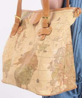 Womens World Map Print Shoulder Bag Handbag Purse A7
