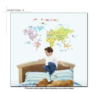 WORLD MAP   Kids Room Nursery Wall Decor Stickers Decal