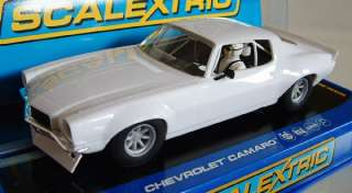 Scalextric C3245 1970 Chevy Camaro White Slot Car 1/32