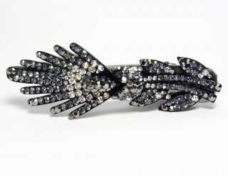 EXOTIC FLOWER BLACK AUSTRIAN RHINESTONE CRYSTAL LONG HAIR CLAMP CLIP