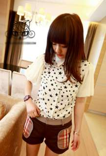 New Korean Lady Star Print Lantern Sleeve Chiffon Blouse Top VC086