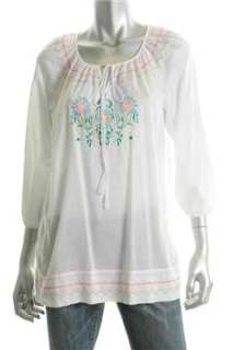 DKNYC Casual Shirt White Embroidered Sale Misses S