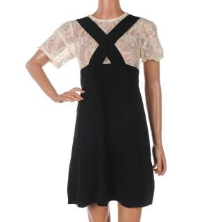 386 SONIA RYKIEL Black & Cream Silk Dress Size UK 10 / 36 RRP £315