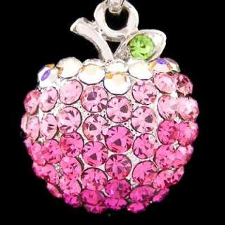 N404A Gorgeous 3D Apple Twinkling Pink Crystal Cute Fruit Chain