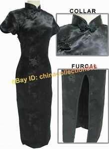 Chinese Women Long Cheongsam Evening Dress BlackWLD 01