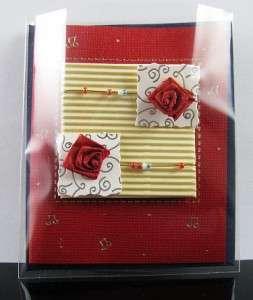 NEW 3D Handmade Rose Beads Ribbon Love Friendship Birthday Greeting