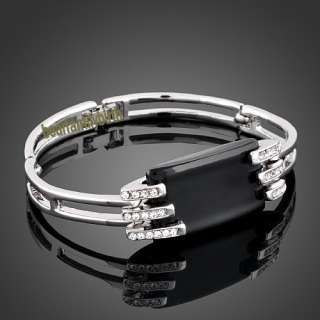 18K white gold GP swarovski crystal modern bracelet 421